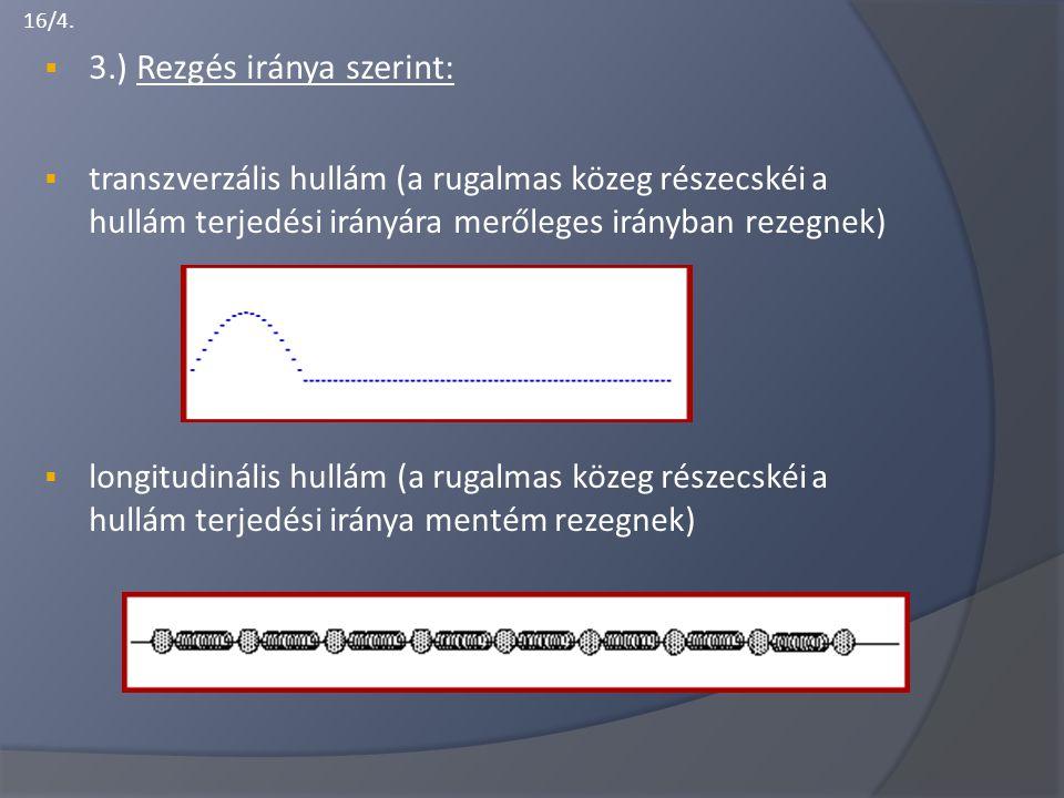 16/4.  3.) Rezgés iránya szerint:  transzverzális hullám (a rugalmas közeg részecskéi a hullám terjedési irányára merőleges irányban rezegnek)  lon