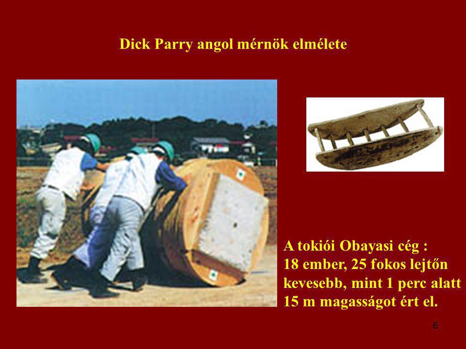 6 Dick Parry angol mérnök elmélete A tokiói Obayasi cég : 18 ember, 25 fokos lejtőn kevesebb, mint 1 perc alatt 15 m magasságot ért el.