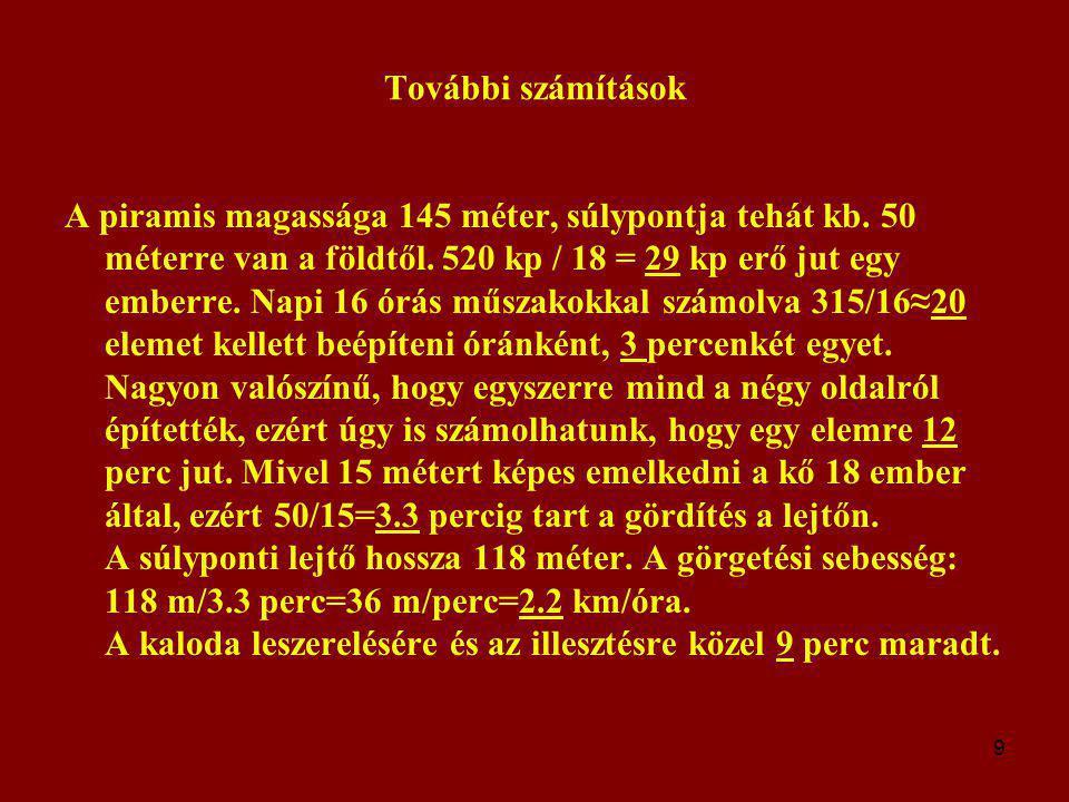 10 Következtetések A kapott eredmények feltűnően emberléptékűek: Egy ember által kifejtett erő 29 kp (ha 18-an húzzák).
