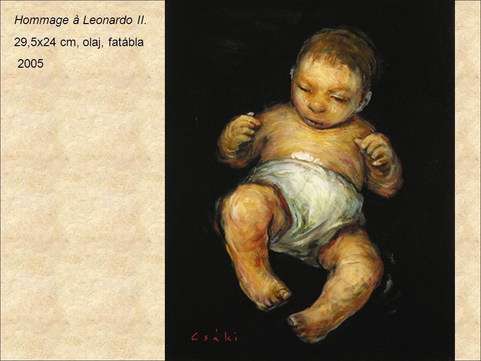 Hommage à Leonardo II. 29,5x24 cm, olaj, fatábla 2005
