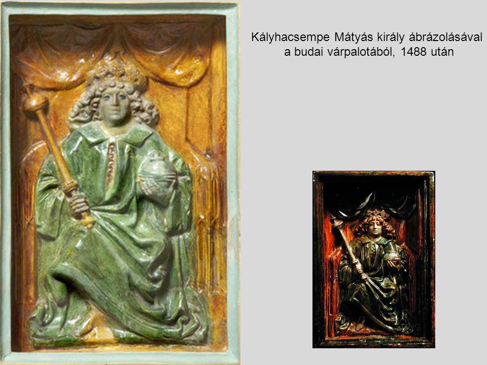 Kályhacsempe Mátyás király ábrázolásával a budai várpalotából, 1488 után