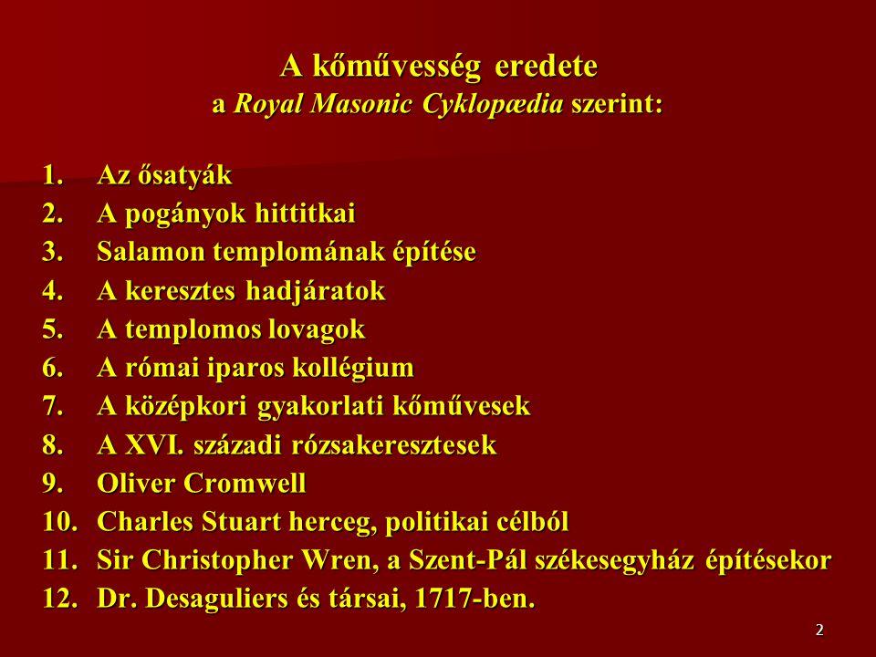 2 A kőművesség eredete a Royal Masonic Cyklopædia szerint: 1.Az ősatyák 2.A pogányok hittitkai 3.