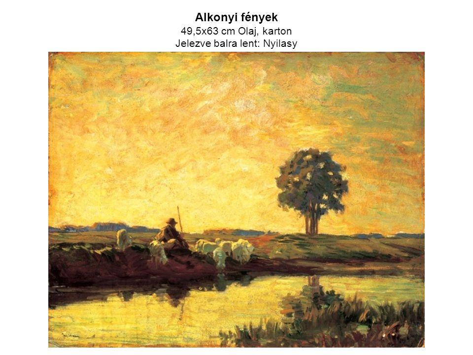Alkonyi fények 49,5x63 cm Olaj, karton Jelezve balra lent: Nyilasy