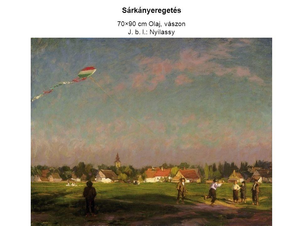 Sárkányeregetés 70×90 cm Olaj, vászon J. b. l.: Nyilassy