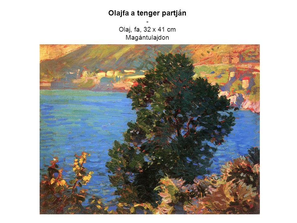 Olajfa a tenger partján - Olaj, fa, 32 x 41 cm Magántulajdon