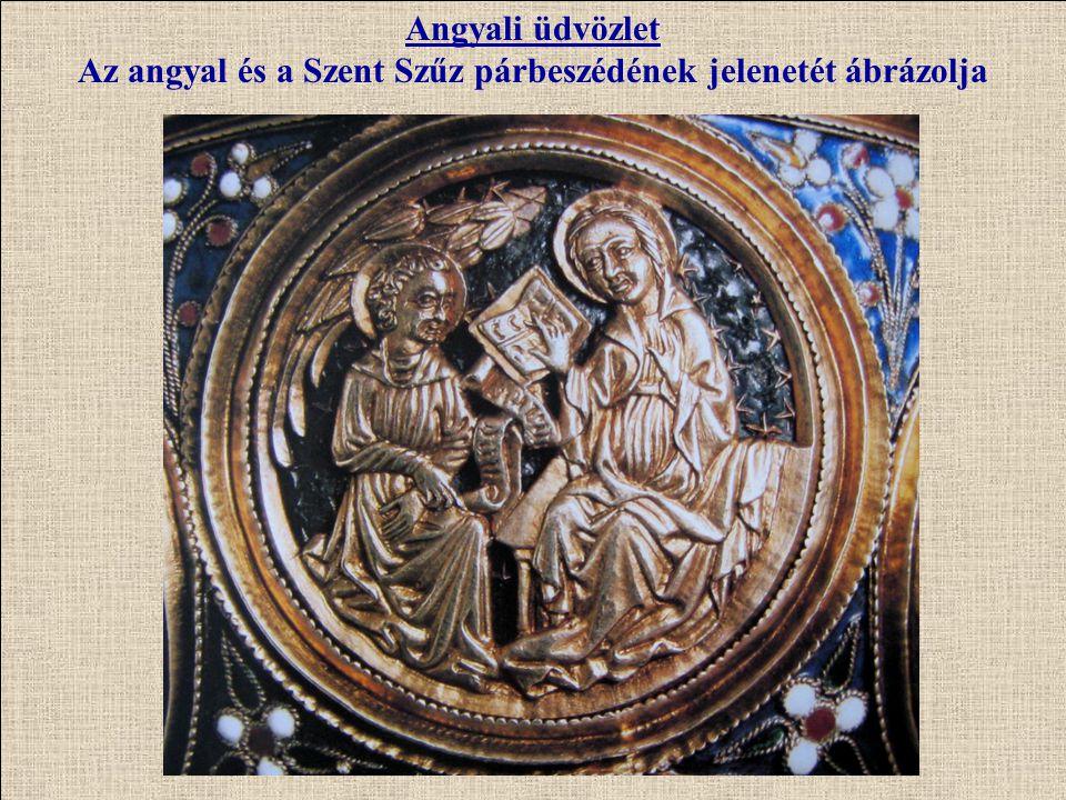A kehely szárán az úgynevezett erkély sorban apostolokat és szenteket látunk Szt.