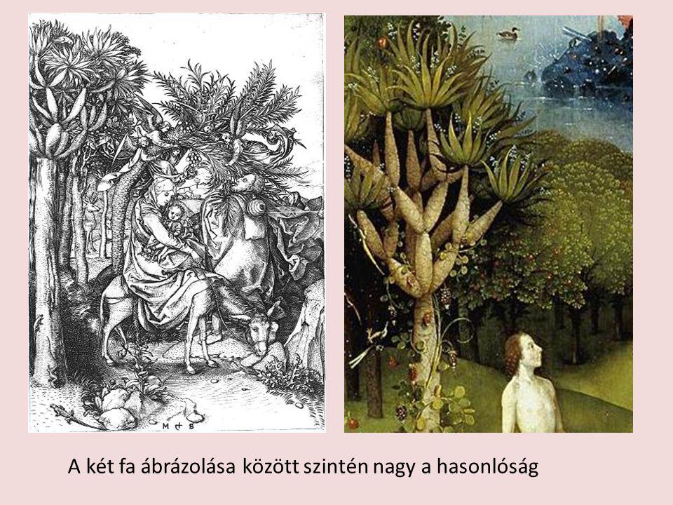 Martin Shongauer: Menekülés Egyiptomból A két fa ábrázolása között szintén nagy a hasonlóság