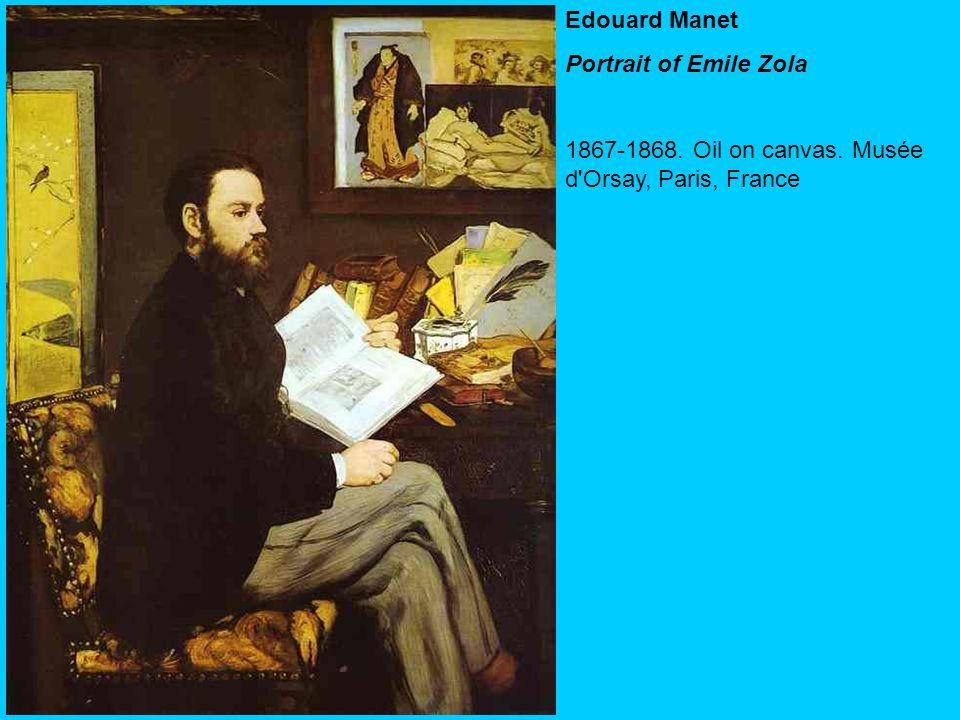 Edouard Manet Portrait of Emile Zola 1867-1868. Oil on canvas. Musée d'Orsay, Paris, France