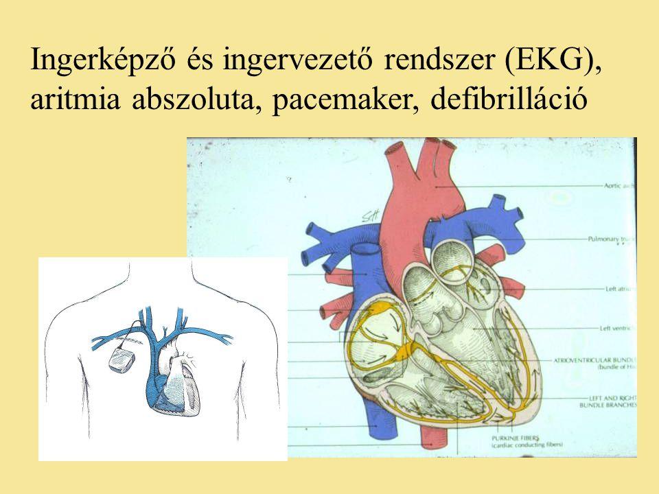 Ingerképző és ingervezető rendszer (EKG), aritmia abszoluta, pacemaker, defibrilláció