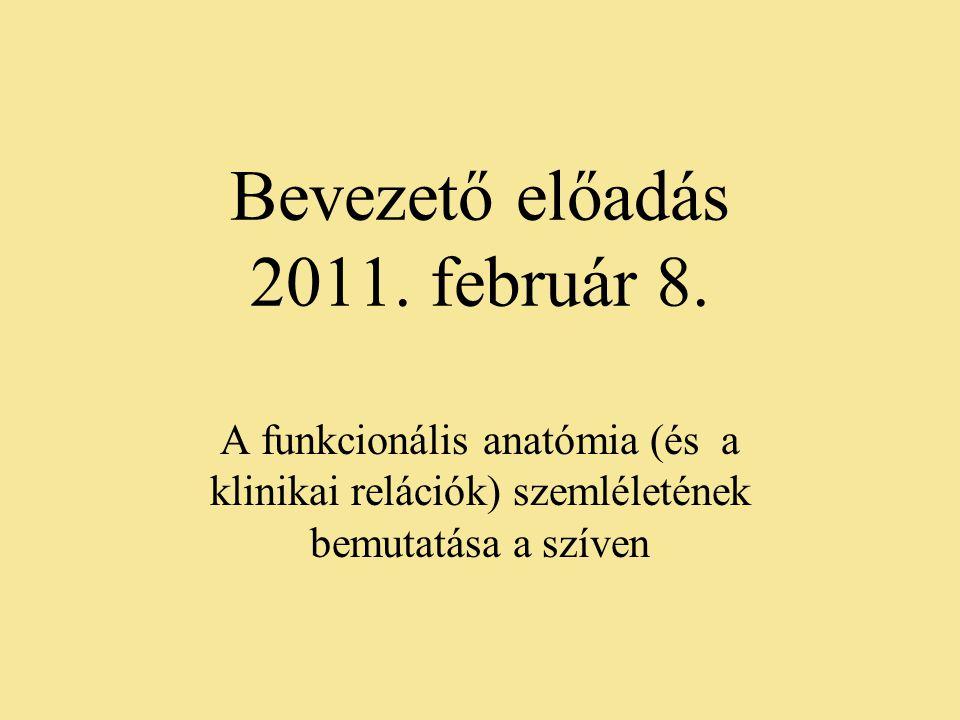 Bevezető előadás 2011. február 8. A funkcionális anatómia (és a klinikai relációk) szemléletének bemutatása a szíven