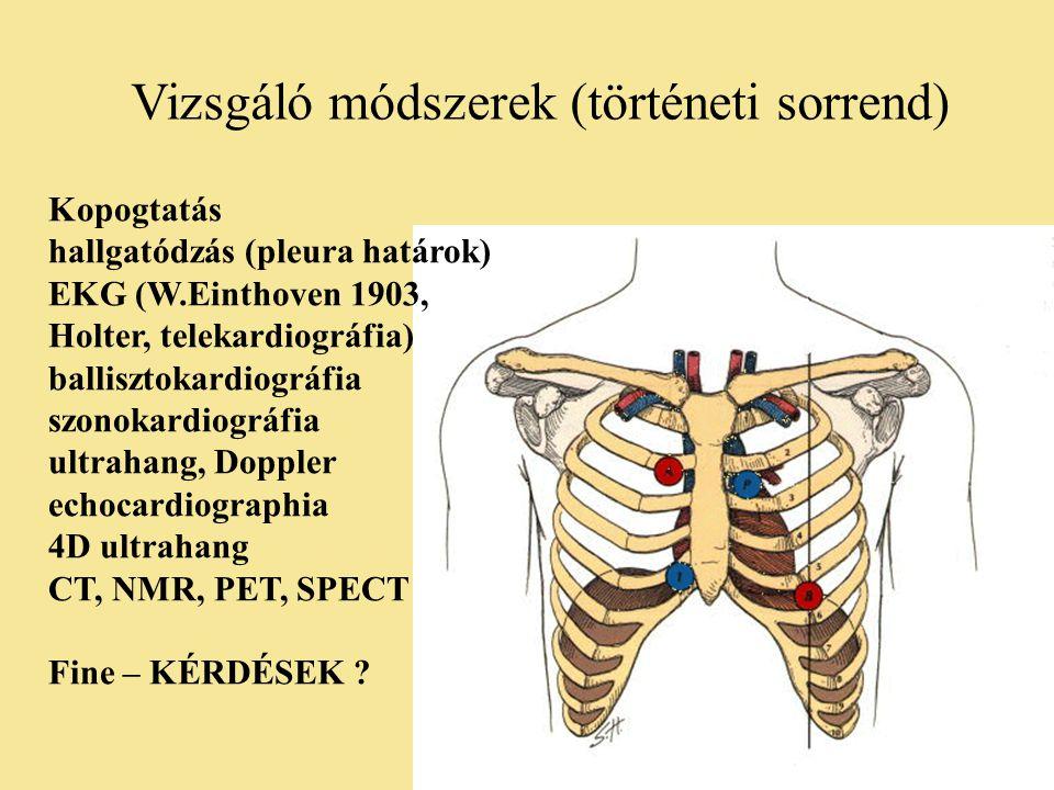 Vizsgáló módszerek (történeti sorrend) Kopogtatás hallgatódzás (pleura határok) EKG (W.Einthoven 1903, Holter, telekardiográfia) ballisztokardiográfia