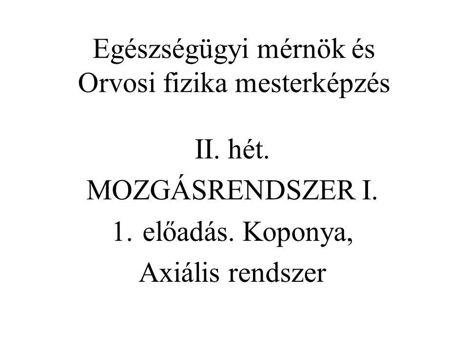 Egészségügyi mérnök és Orvosi fizika mesterképzés II. hét. MOZGÁSRENDSZER I. 1.előadás. Koponya, Axiális rendszer