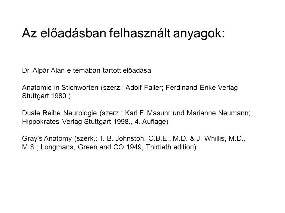 Az előadásban felhasznált anyagok: Dr. Alpár Alán e témában tartott előadása Anatomie in Stichworten (szerz.: Adolf Faller; Ferdinand Enke Verlag Stut