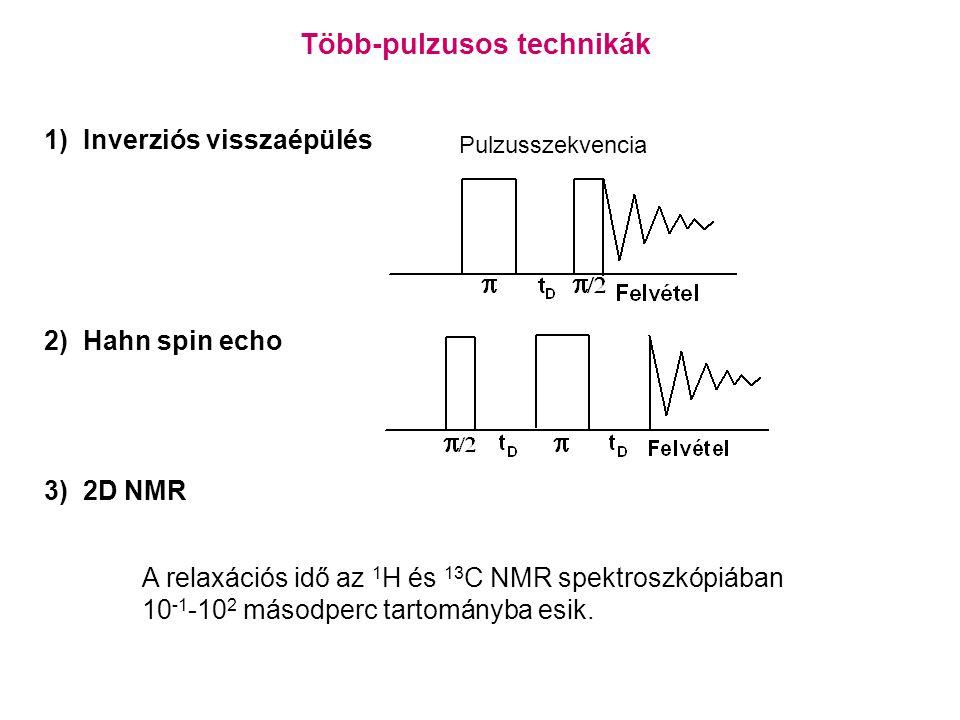Több-pulzusos technikák 1) Inverziós visszaépülés 2) Hahn spin echo Pulzusszekvencia 3) 2D NMR A relaxációs idő az 1 H és 13 C NMR spektroszkópiában 10 -1 -10 2 másodperc tartományba esik.
