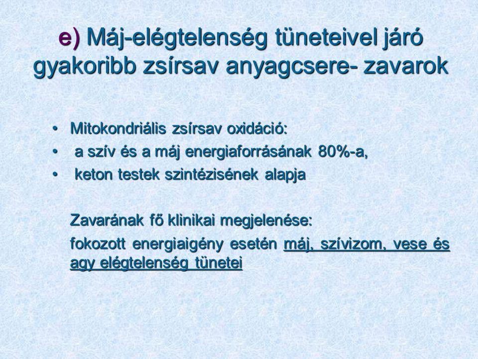 e) Máj-elégtelenség tüneteivel járó gyakoribb zsírsav anyagcsere- zavarok Mitokondriális zsírsav oxidáció:Mitokondriális zsírsav oxidáció: a szív és a