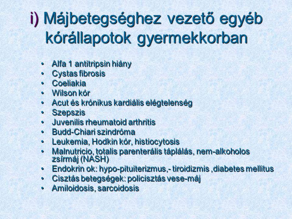 i) Májbetegséghez vezető egyéb kórállapotok gyermekkorban Alfa 1 antitripsin hiányAlfa 1 antitripsin hiány Cystas fibrosisCystas fibrosis CoeliakiaCoe