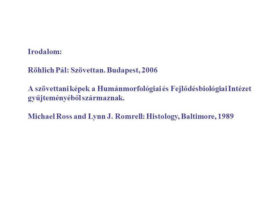 Irodalom: Röhlich Pál: Szövettan. Budapest, 2006 A szövettani képek a Humánmorfológiai és Fejlődésbiológiai Intézet gyűjteményéből származnak. Michael