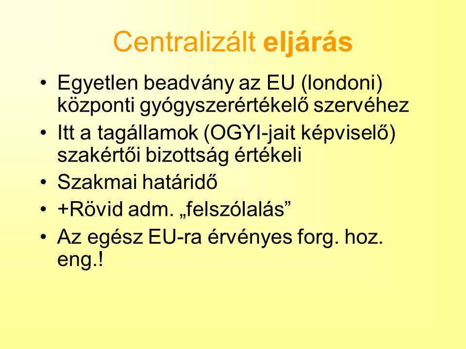 Centralizált eljárás Egyetlen beadvány az EU (londoni) központi gyógyszerértékelő szervéhez Itt a tagállamok (OGYI-jait képviselő) szakértői bizottság értékeli Szakmai határidő +Rövid adm.