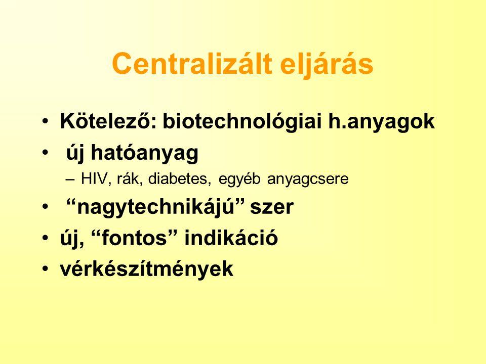 Centralizált eljárás Kötelező: biotechnológiai h.anyagok új hatóanyag –HIV, rák, diabetes, egyéb anyagcsere nagytechnikájú szer új, fontos indikáció vérkészítmények