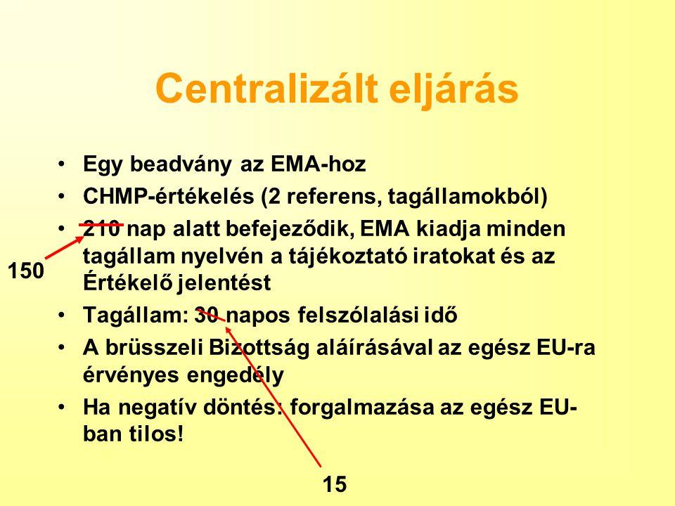 Centralizált eljárás Egy beadvány az EMA-hoz CHMP-értékelés (2 referens, tagállamokból) 210 nap alatt befejeződik, EMA kiadja minden tagállam nyelvén a tájékoztató iratokat és az Értékelő jelentést Tagállam: 30 napos felszólalási idő A brüsszeli Bizottság aláírásával az egész EU-ra érvényes engedély Ha negatív döntés: forgalmazása az egész EU- ban tilos.