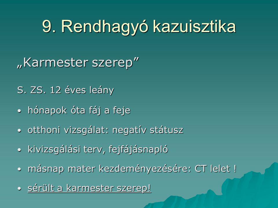 """9. Rendhagyó kazuisztika """"Karmester szerep S. ZS."""