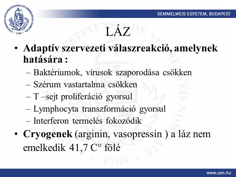 LÁZ Adaptív szervezeti válaszreakció, amelynek hatására : –Baktériumok, vírusok szaporodása csökken –Szérum vastartalma csökken –T –sejt proliferáció
