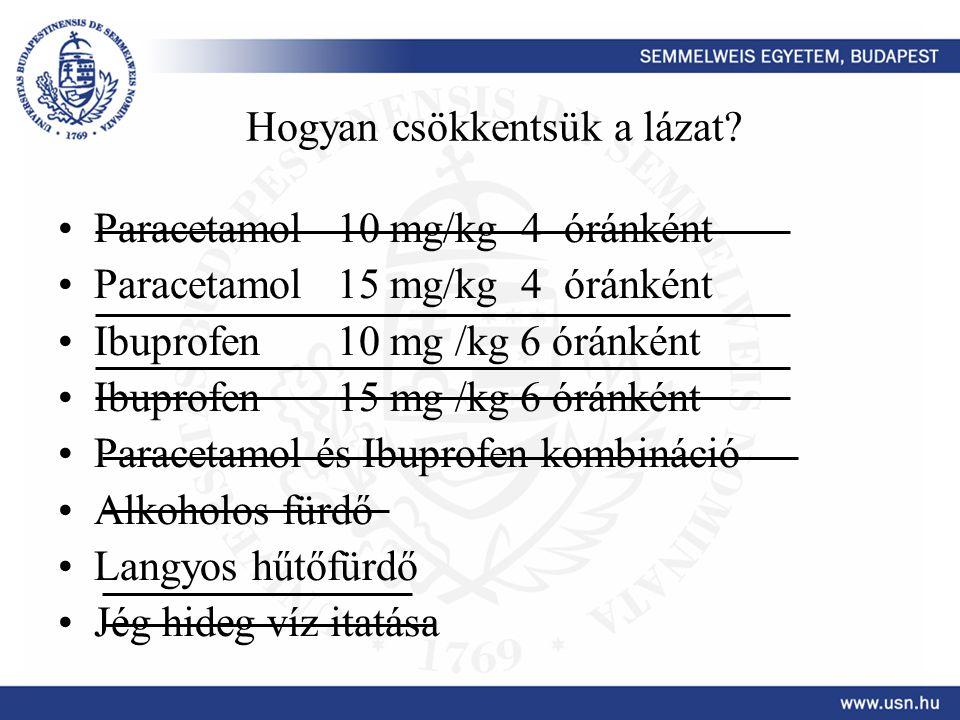 Hogyan csökkentsük a lázat? Paracetamol 10 mg/kg 4 óránként Paracetamol 15 mg/kg 4 óránként Ibuprofen 10 mg /kg 6 óránként Ibuprofen 15 mg /kg 6 óránk