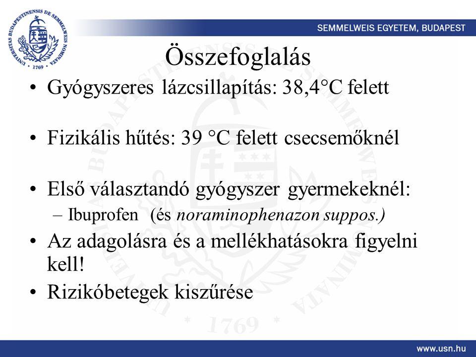Összefoglalás Gyógyszeres lázcsillapítás: 38,4°C felett Fizikális hűtés: 39 °C felett csecsemőknél Első választandó gyógyszer gyermekeknél: –Ibuprofen