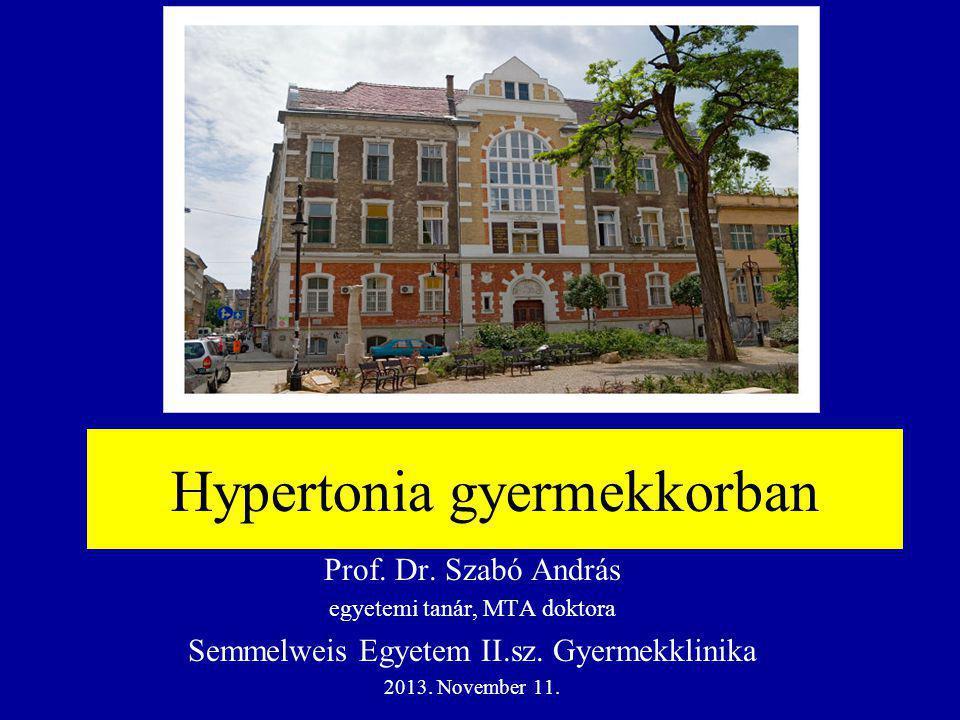 A hypertonia leggyakoribb okai az életkor függvényében Újszölött: artéris renalis trombosis vagy stenosis, cong.
