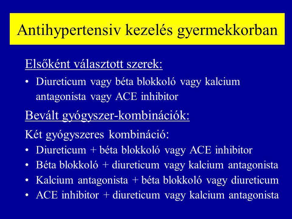 Antihypertensiv kezelés gyermekkorban Elsőként választott szerek: Diureticum vagy béta blokkoló vagy kalcium antagonista vagy ACE inhibitor Bevált gyógyszer-kombinációk: Két gyógyszeres kombináció : Diureticum + béta blokkoló vagy ACE inhibitor Béta blokkoló + diureticum vagy kalcium antagonista Kalcium antagonista + béta blokkoló vagy diureticum ACE inhibitor + diureticum vagy kalcium antagonista