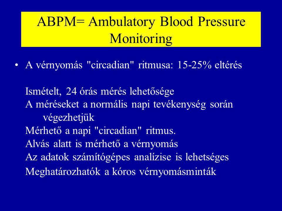 Vérnyomáscsökkentők alkalmazása normotenzió esetén Cél: az intraglomeruláris nyomás csökkentése, és ezáltal a progresszív vesekárosodás megelőzése.