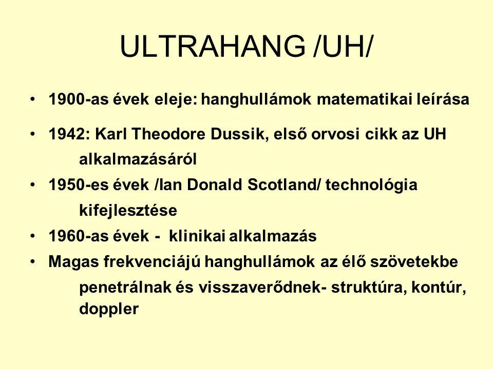 ULTRAHANG /UH/ 1900-as évek eleje: hanghullámok matematikai leírása 1942: Karl Theodore Dussik, első orvosi cikk az UH alkalmazásáról 1950-es évek /Ia