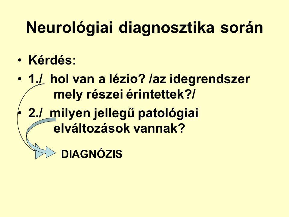 Neurológiai diagnosztika során Kérdés: 1./ hol van a lézio? /az idegrendszer mely részei érintettek?/ patológiai2./ milyen jellegű patológiai elváltoz