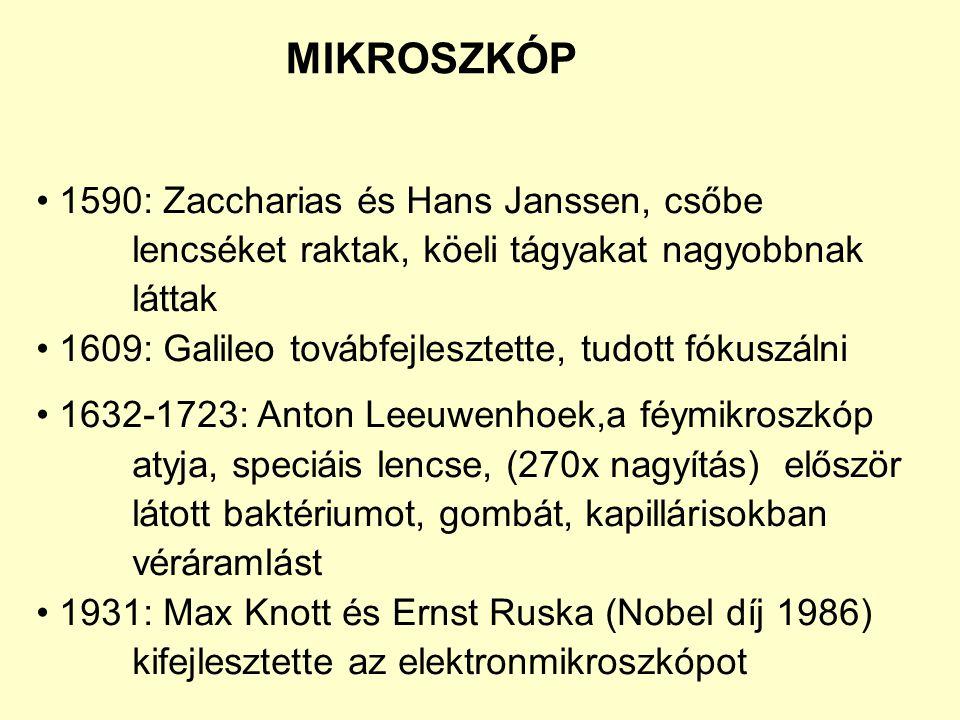 1590: Zaccharias és Hans Janssen, csőbe lencséket raktak, köeli tágyakat nagyobbnak láttak 1609: Galileo továbfejlesztette, tudott fókuszálni 1632-172