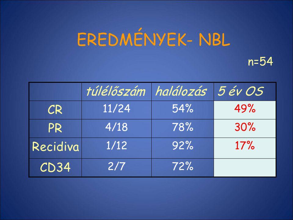 EREDMÉNYEK- NBL túlélőszámhalálozás5 év OS CR 11/2454%49% PR 4/1878%30% Recidiva 1/1292%17% CD34 2/772% n=54