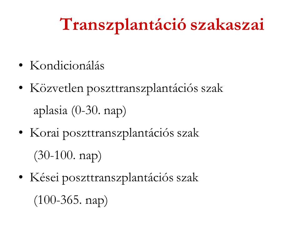 Transzplantáció szakaszai Kondicionálás Közvetlen poszttranszplantációs szak aplasia (0-30. nap) Korai poszttranszplantációs szak (30-100. nap) Kései