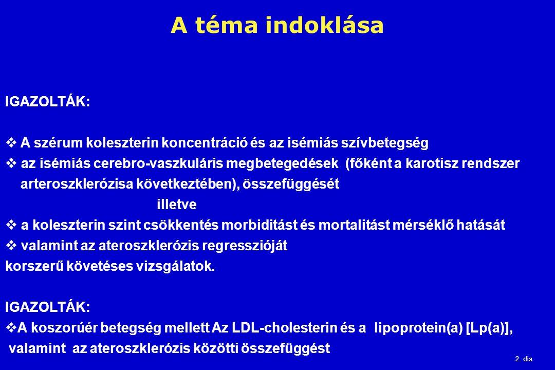 2. dia A téma indoklása IGAZOLTÁK:  A szérum koleszterin koncentráció és az isémiás szívbetegség  az isémiás cerebro-vaszkuláris megbetegedések (fők