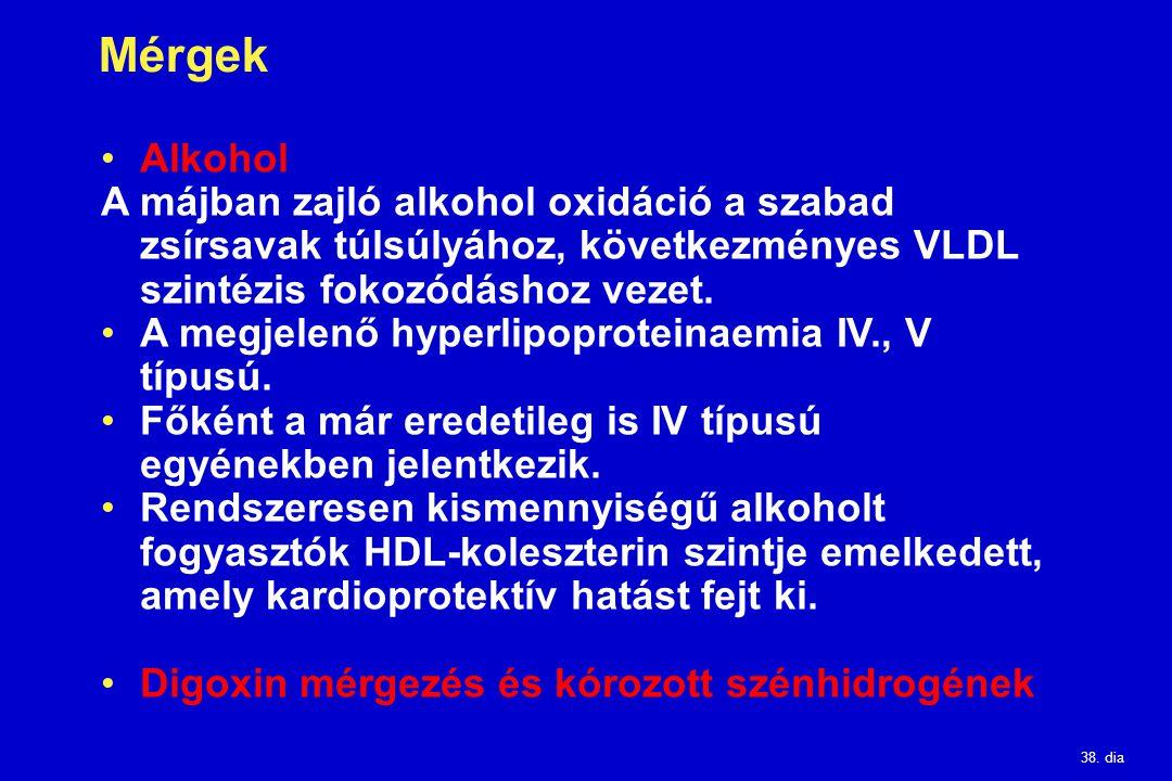 38. dia Mérgek Alkohol A májban zajló alkohol oxidáció a szabad zsírsavak túlsúlyához, következményes VLDL szintézis fokozódáshoz vezet. A megjelenő h