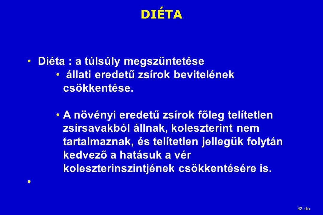 42. dia DIÉTA Diéta : a túlsúly megszüntetése állati eredetű zsírok bevitelének csökkentése. A növényi eredetű zsírok főleg telítetlen zsírsavakból ál