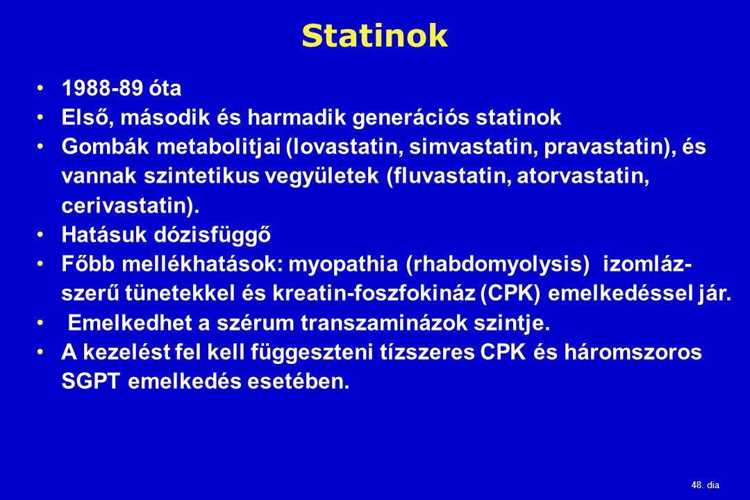48. dia Statinok 1988-89 óta Első, második és harmadik generációs statinok Gombák metabolitjai (lovastatin, simvastatin, pravastatin), és vannak szint