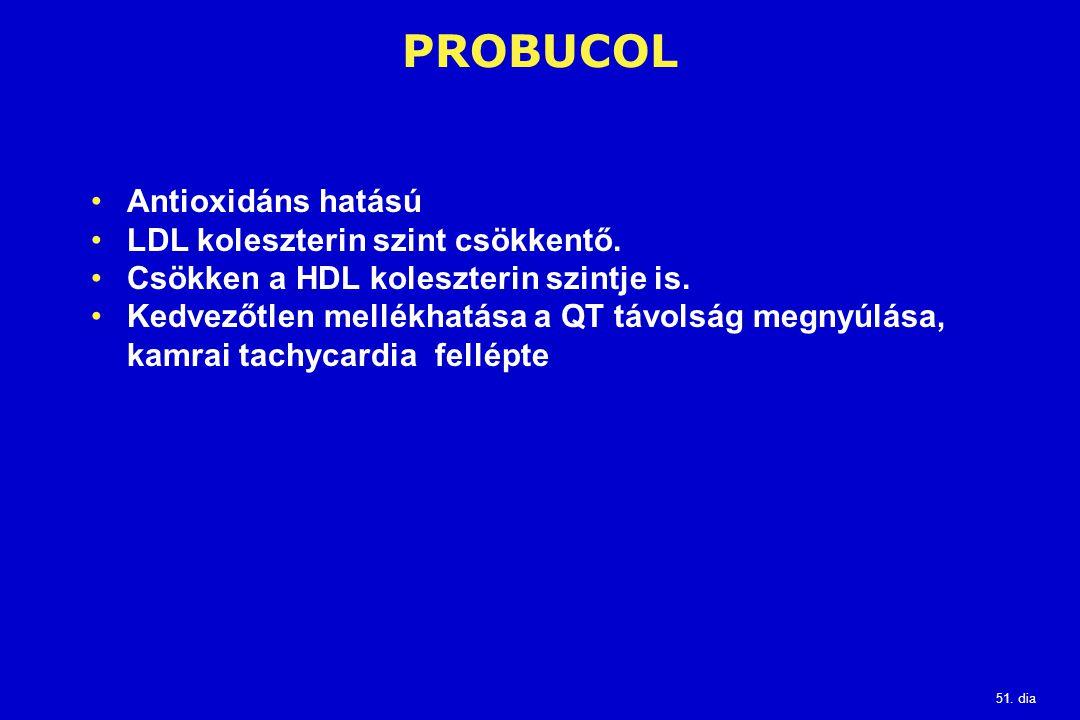 51. dia PROBUCOL Antioxidáns hatású LDL koleszterin szint csökkentő. Csökken a HDL koleszterin szintje is. Kedvezőtlen mellékhatása a QT távolság megn