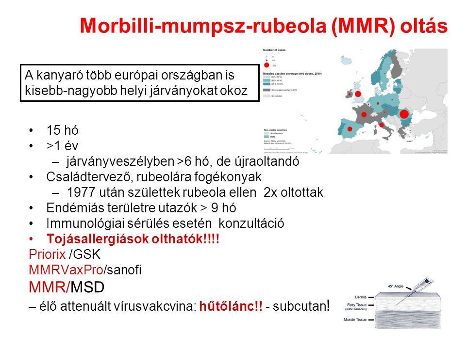 Morbilli-mumpsz-rubeola (MMR) oltás 15 hó >1 év –járványveszélyben >6 hó, de újraoltandó Családtervező, rubeolára fogékonyak –1977 után születtek rubeola ellen 2x oltottak Endémiás területre utazók > 9 hó Immunológiai sérülés esetén konzultáció Tojásallergiások olthatók!!!.