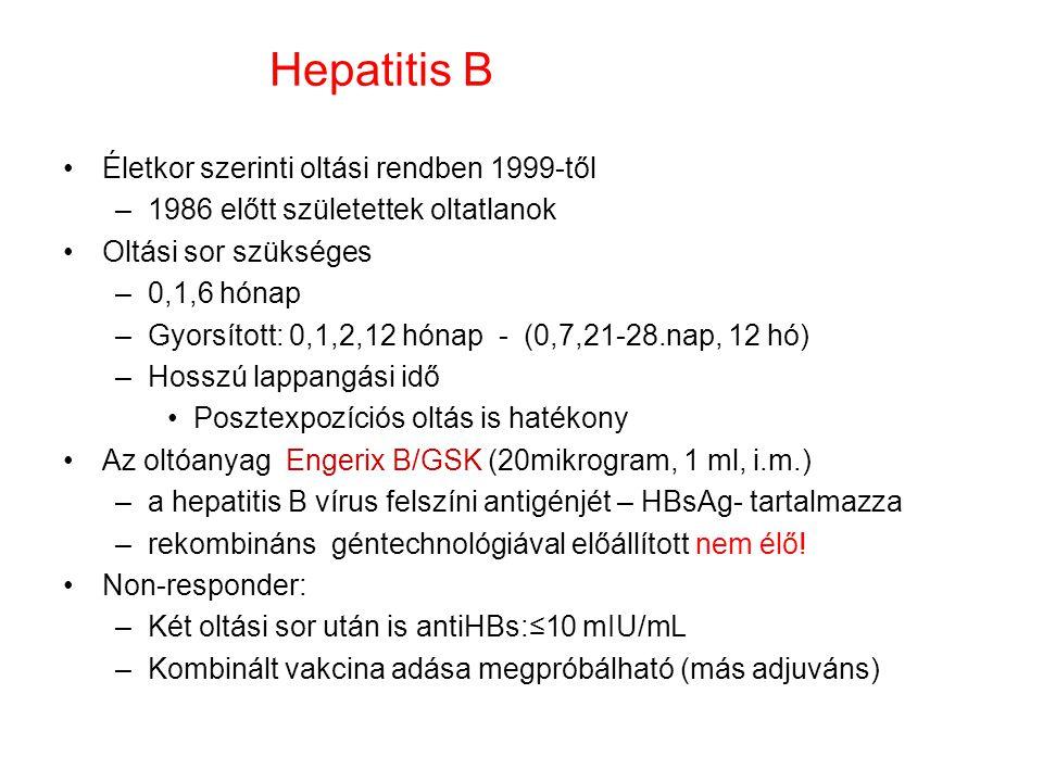 Hepatitis B Életkor szerinti oltási rendben 1999-től –1986 előtt születettek oltatlanok Oltási sor szükséges –0,1,6 hónap –Gyorsított: 0,1,2,12 hónap - (0,7,21-28.nap, 12 hó) –Hosszú lappangási idő Posztexpozíciós oltás is hatékony Az oltóanyag Engerix B/GSK (20mikrogram, 1 ml, i.m.) –a hepatitis B vírus felszíni antigénjét – HBsAg- tartalmazza –rekombináns géntechnológiával előállított nem élő.