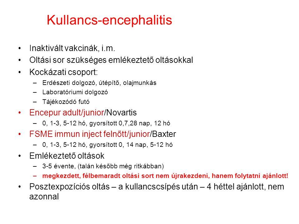 Kullancs-encephalitis Inaktivált vakcinák, i.m. Oltási sor szükséges emlékeztető oltásokkal Kockázati csoport: –Erdészeti dolgozó, útépítő, olajmunkás
