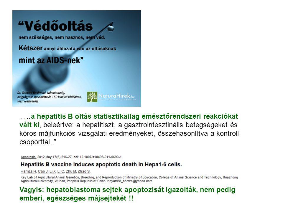""""""" …a hepatitis B oltás statisztikailag emésztőrendszeri reakciókat vált ki, beleértve: a hepatitiszt, a gasztrointesztinális betegségeket és kóros májfunkciós vizsgálati eredményeket, összehasonlítva a kontroll csoporttal.. Vagyis: hepatoblastoma sejtek apoptozisát igazolták, nem pedig emberi, egészséges májsejtekét !!"""