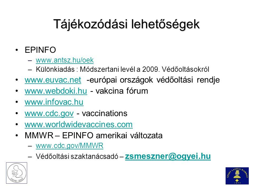 Tájékozódási lehetőségek EPINFO –www.antsz.hu/oekwww.antsz.hu/oek –Különkiadás : Módszertani levél a 2009. Védőoltásokról www.euvac.net -európai orszá