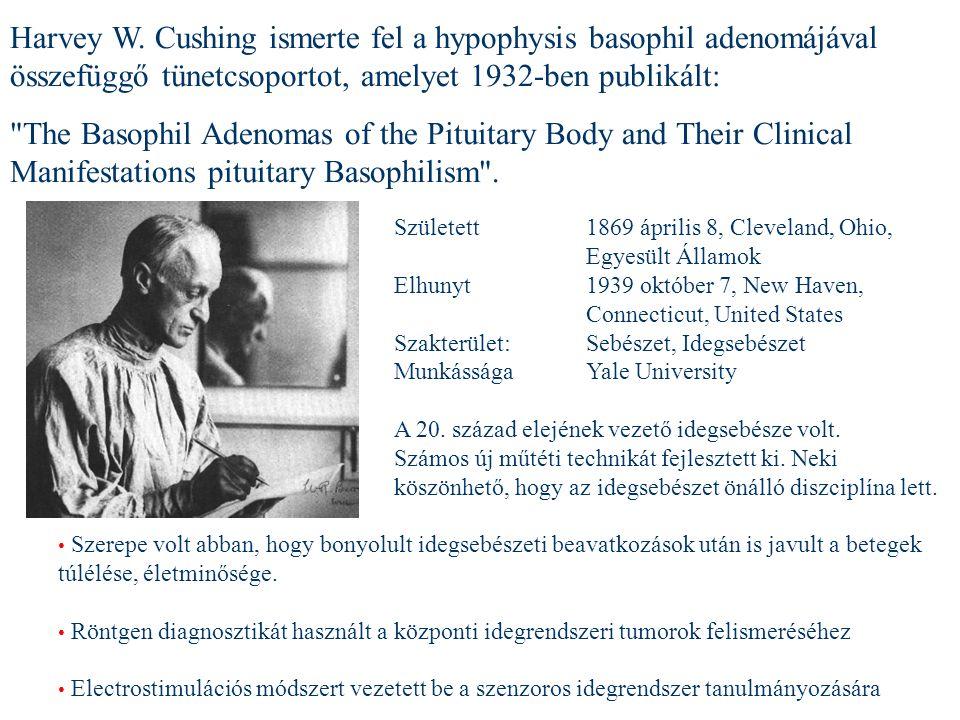 Harvey W. Cushing ismerte fel a hypophysis basophil adenomájával összefüggő tünetcsoportot, amelyet 1932-ben publikált: