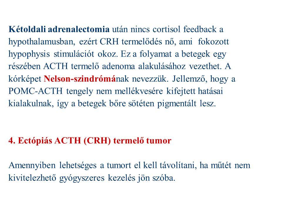 Kétoldali adrenalectomia után nincs cortisol feedback a hypothalamusban, ezért CRH termelődés nő, ami fokozott hypophysis stimulációt okoz. Ez a folya