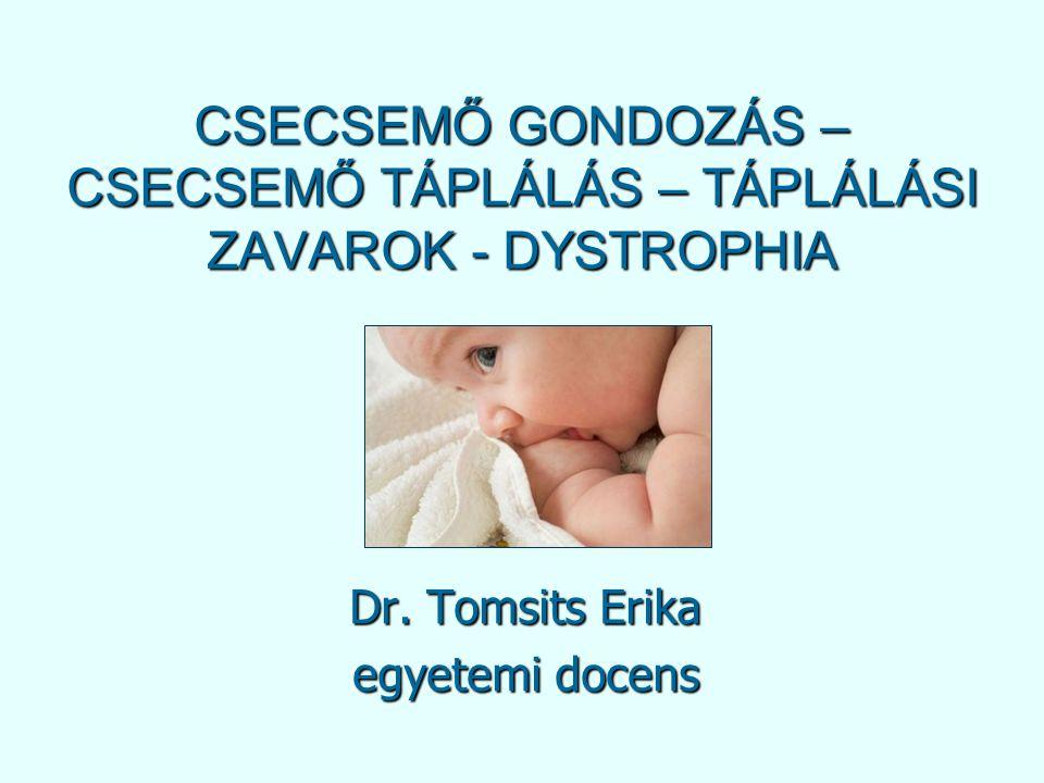 CSECSEMŐ GONDOZÁS – CSECSEMŐ TÁPLÁLÁS – TÁPLÁLÁSI ZAVAROK - DYSTROPHIA Dr. Tomsits Erika egyetemi docens