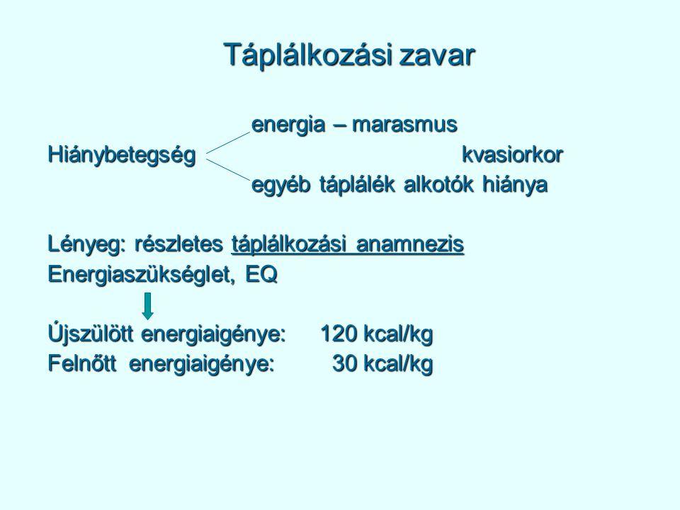 Táplálkozási zavar energia – marasmus Hiánybetegség kvasiorkor egyéb táplálék alkotók hiánya Lényeg: részletes táplálkozási anamnezis Energiaszükséglet, EQ Újszülött energiaigénye:120 kcal/kg Felnőtt energiaigénye: 30 kcal/kg